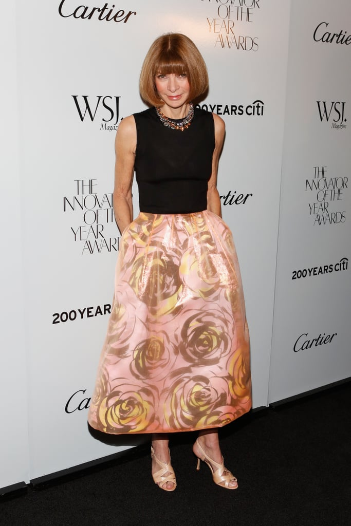Anna Wintour also showed off Christian Dior's printed poufy skirt in a floral print at WSJ Magazine's Innovator of the Year Awards.
