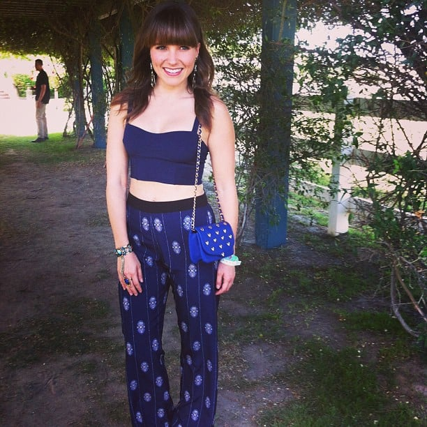 Dressed in a blue crop top and printed pants (courtesy of H&M), Sophia Bush stopped by H&M's Coachella party. Source: Instagram user hm