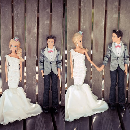 Barbie and Ken share a moment by the fence. Photo by BdG Photography via Rock n Roll Bride