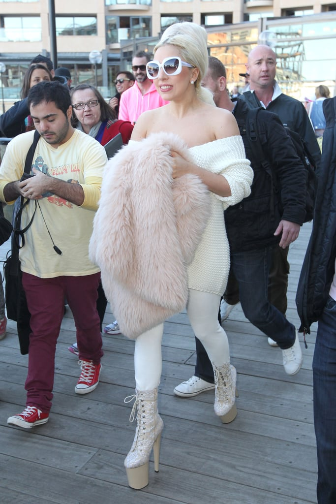 Lady Gaga Rugs Up For a Boat Ride Around Sydney Harbour