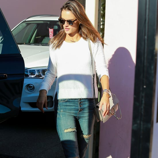 Alessandra Ambrosio Wears Flared Jeans