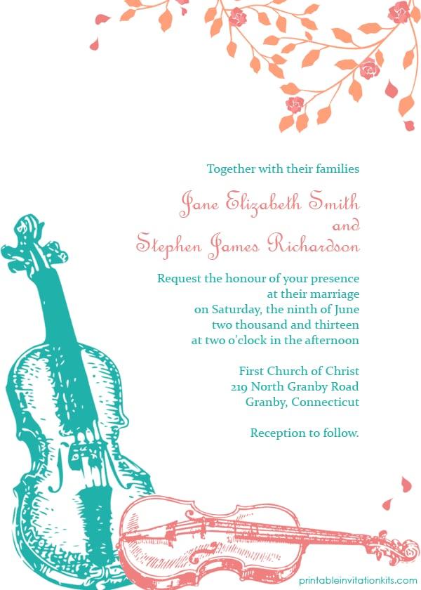 Violin Wedding Invitation
