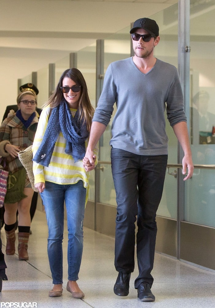 Lea Michele and Cory Monteith held hands at LAX.