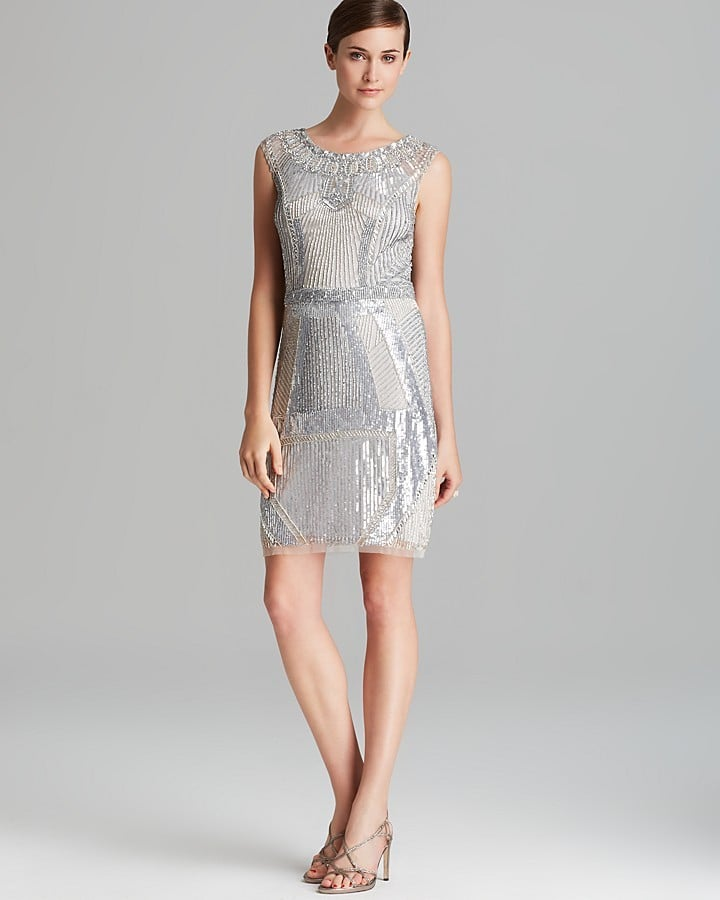 Aidan Mattox Silver Beaded Sheath Dress