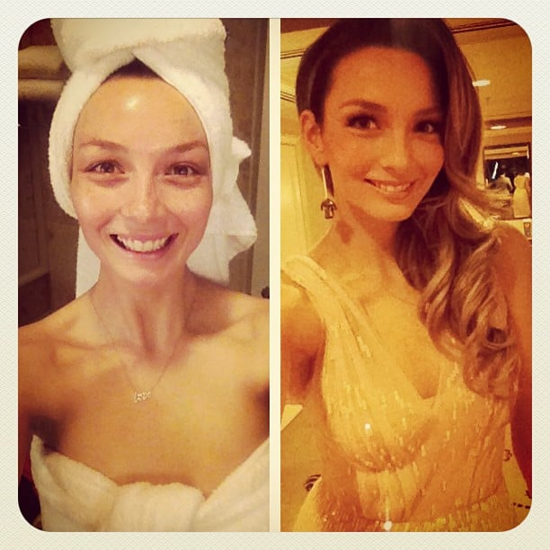 Ricki-Lee Coulter shared before and after snaps of her prep for a COVERGIRL party. Source: Instagram user therickilee