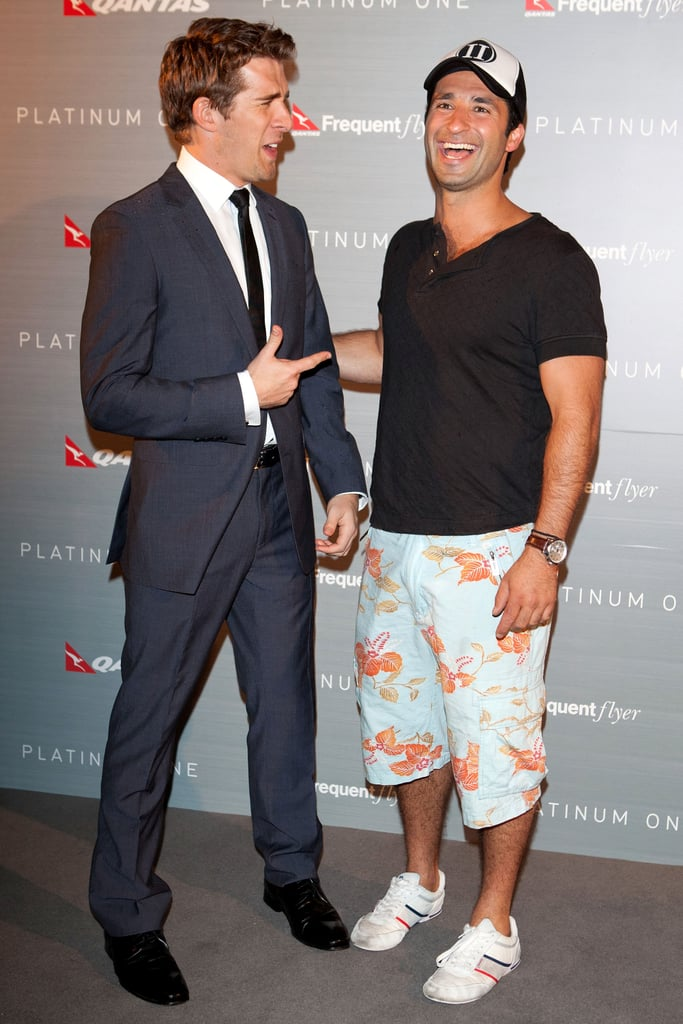 Packed to the Rafters co-stars Hugh Sheridan and George Hourvadas joked around at Qantas' 91st birthday and the launch of Platinum One in Sydney on Nov. 16.
