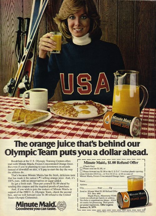 Ah, I didn't know the key to becoming an Olympian was orange juice!