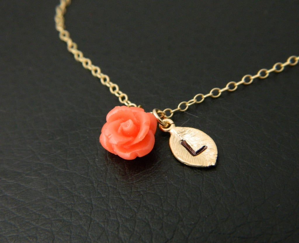 Initial Flower Necklace