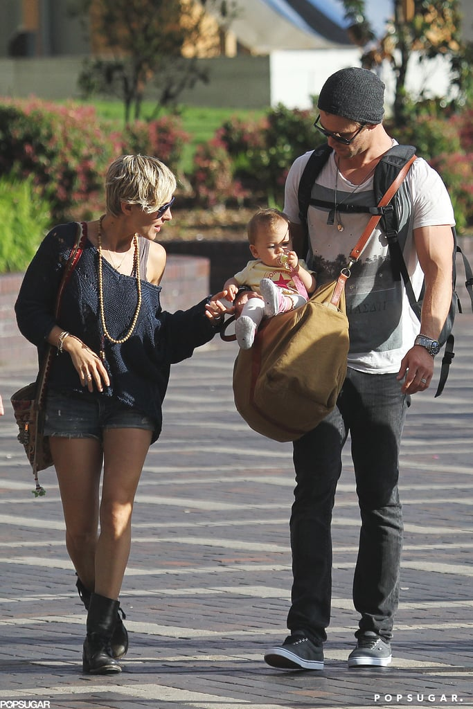 Elsa Pataky played with baby India Hemsworth.