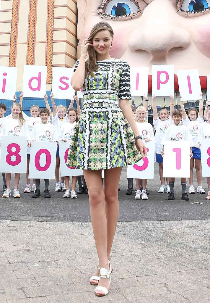 Miranda Kerr posed in this elbow-length printed Peter Pilotto party dress at an outdoor event in Australia in February.