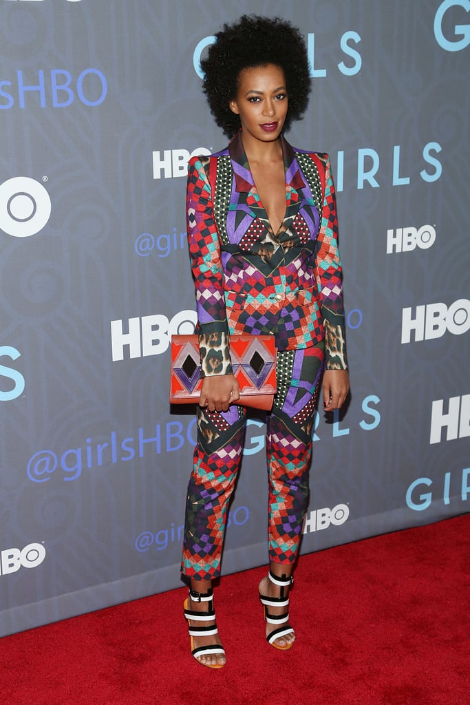 Solange Knowles wowed in a brightly patterned suit.