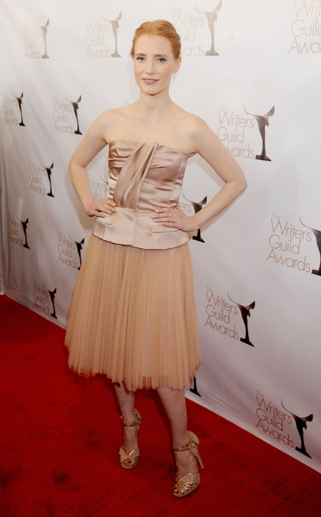 Jessica Chastain in Nude Dior Dress