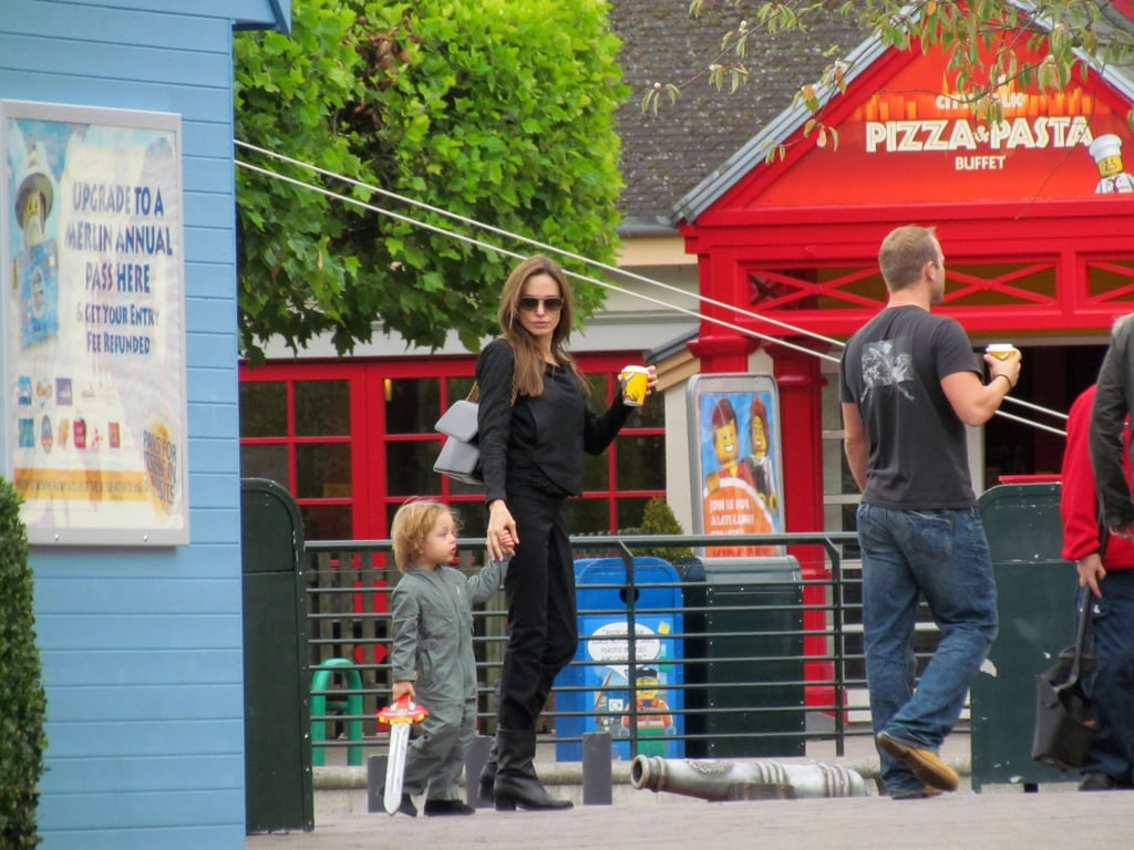 Knox-Jolie Pitt with a sword at Legoland with Angelina Jolie.