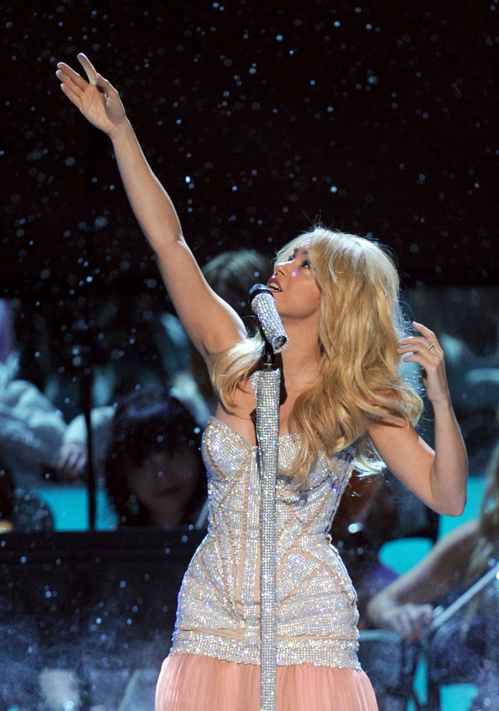 Shakira performed on stage in Las Vegas.