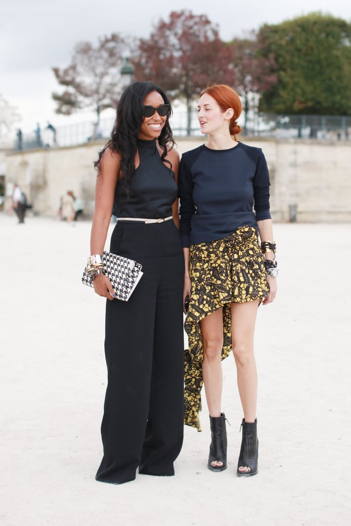 Taylor Tomasi Hill proves that wild prints can be totally wearable — just add a simple sweater, classic wrist wraps, and cool peep-toe booties into the mix.