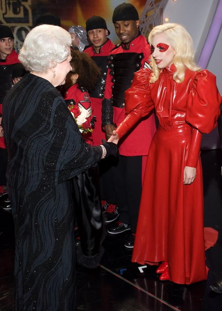Lady Gaga in Red Latex Dress in 2009