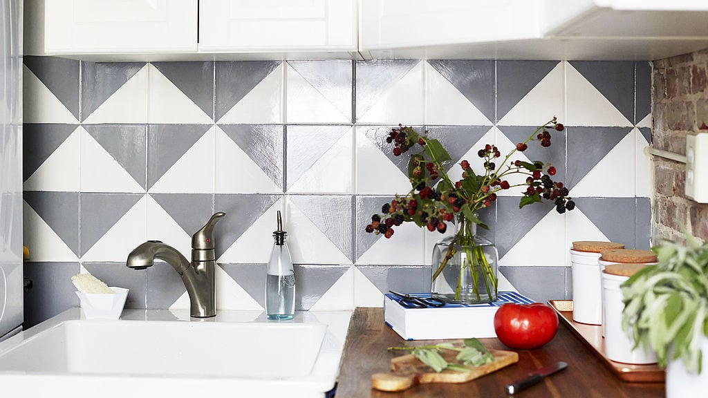 Update a tired tile backsplash with this paint trick.