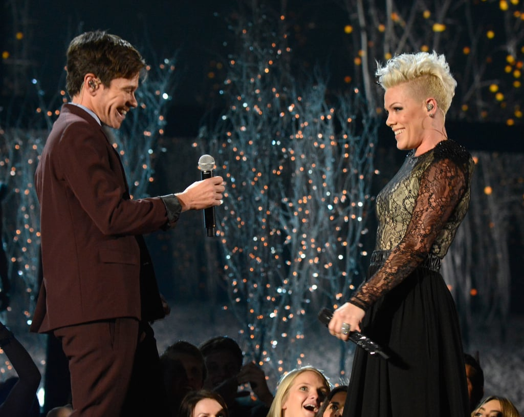 """Pink and Nate Ruess smiled while performing their duet """"Just Give Me a Reason."""""""