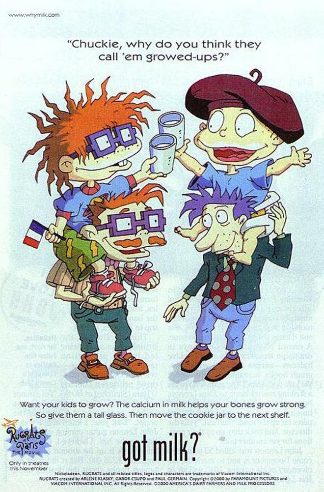 The Rugrats characters Chuckie and Tommy posed with their dads for one of the '90s ads.