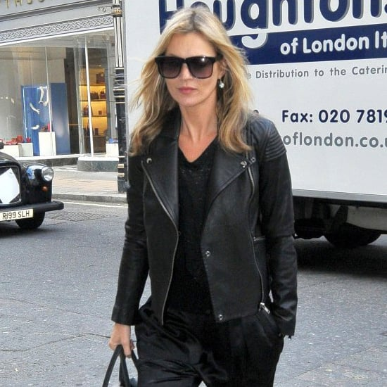 Kate Moss Wearing Black Silk Pants
