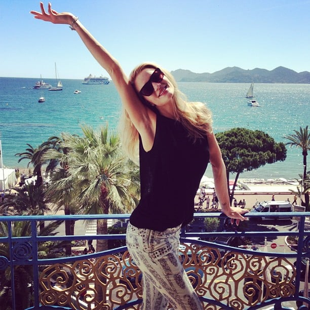 Rosie Huntington-Whiteley stayed stylish in printed jeans while taking in the beautiful Cannes weather. Source: Instagram user rosiehw