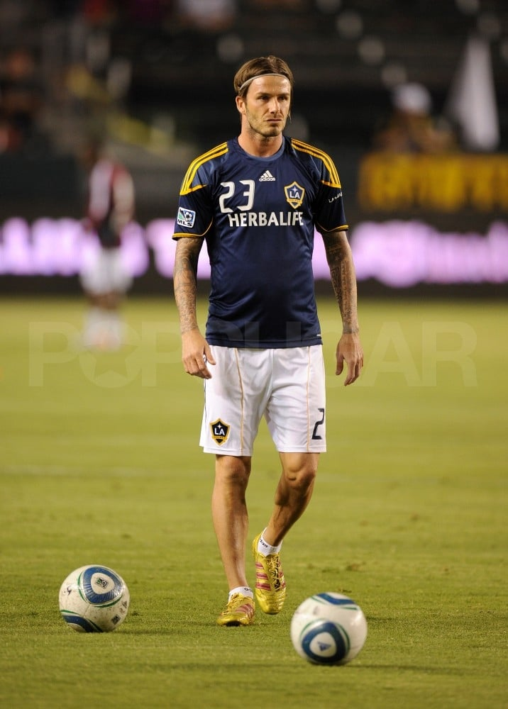 David Beckham practiced before his soccer game.