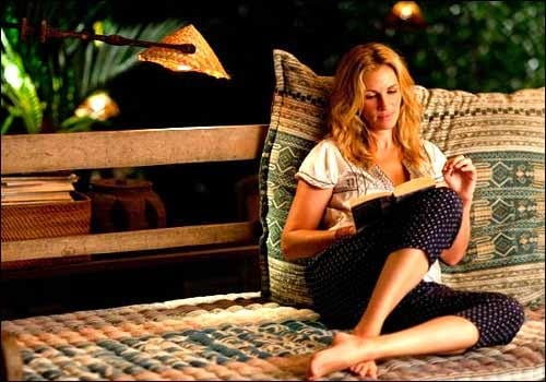 Elizabeth spends plenty of time reading along with soul-searching on her big trip.