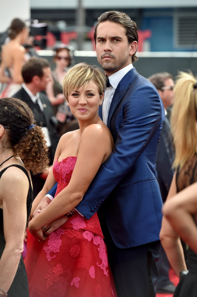 Kaley Cuoco got a hug from her husband, Ryan Sweeting, on their way into the show.