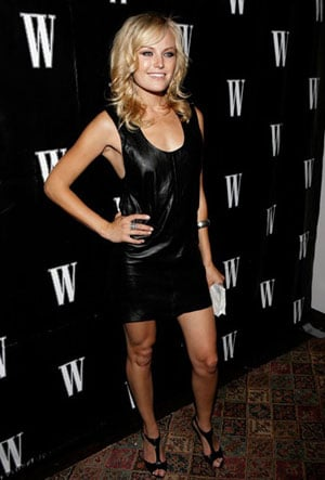 Actress Malin Akerman Wears Leather Dress at W Magazines New York Affair Party