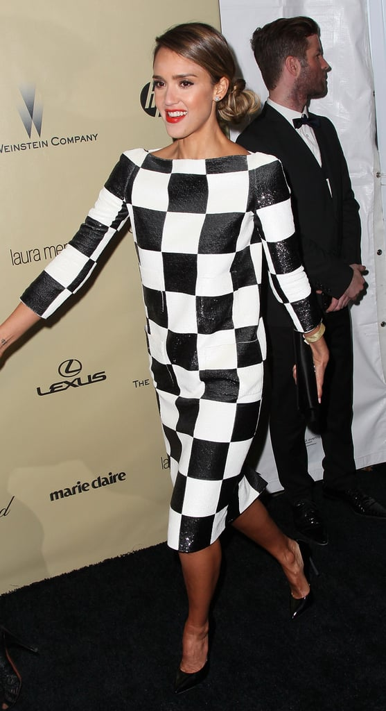 Jessica Alba changed into a fun black and white checkered number for the Golden Globe afterparties.