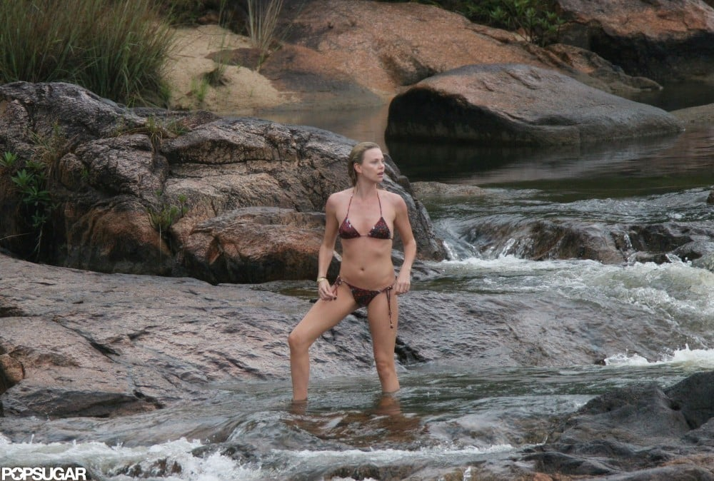 Charlize hit the beaches of Belize in a bikini in August 2007.