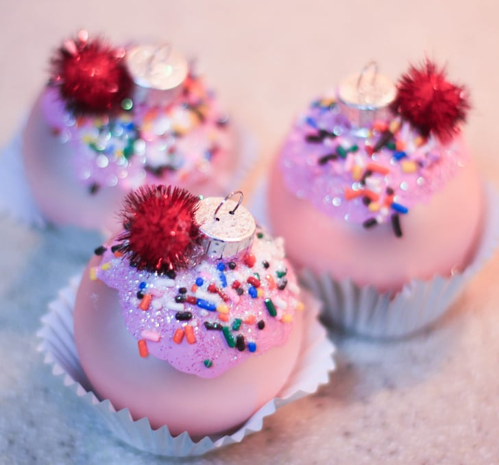 Glittery Cupcake Ornaments