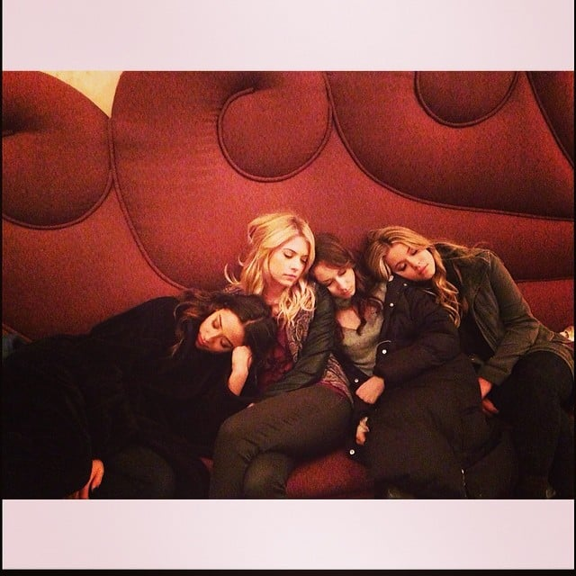 The Pretty Little Liars cast took a nap together after a 16-hour shoot. Source: Instagram user sleepinthegardn