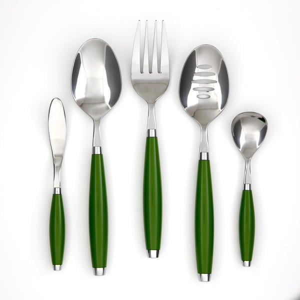 "It would be hard to find a more appropriate hostess set ($25) than one called ""Shamrock."" This one comes with a serving fork, butter knife, serving spoon, and more."