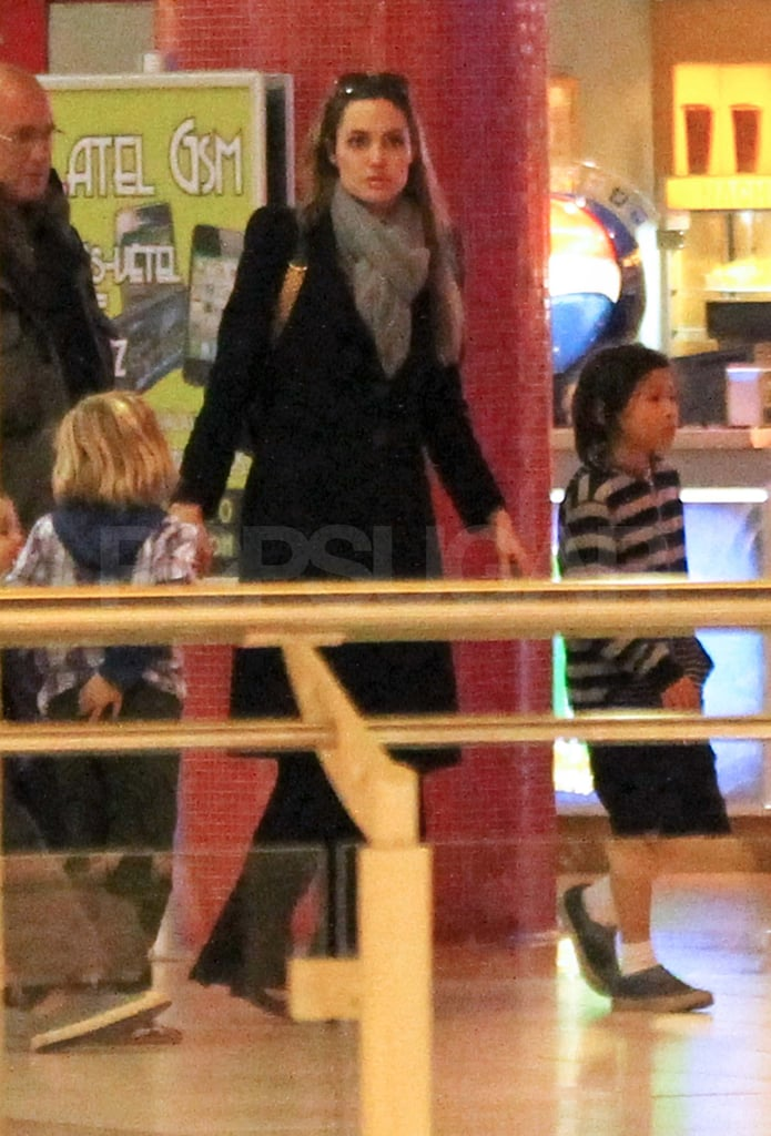 Angelina Jolie with her kids in Hungary.