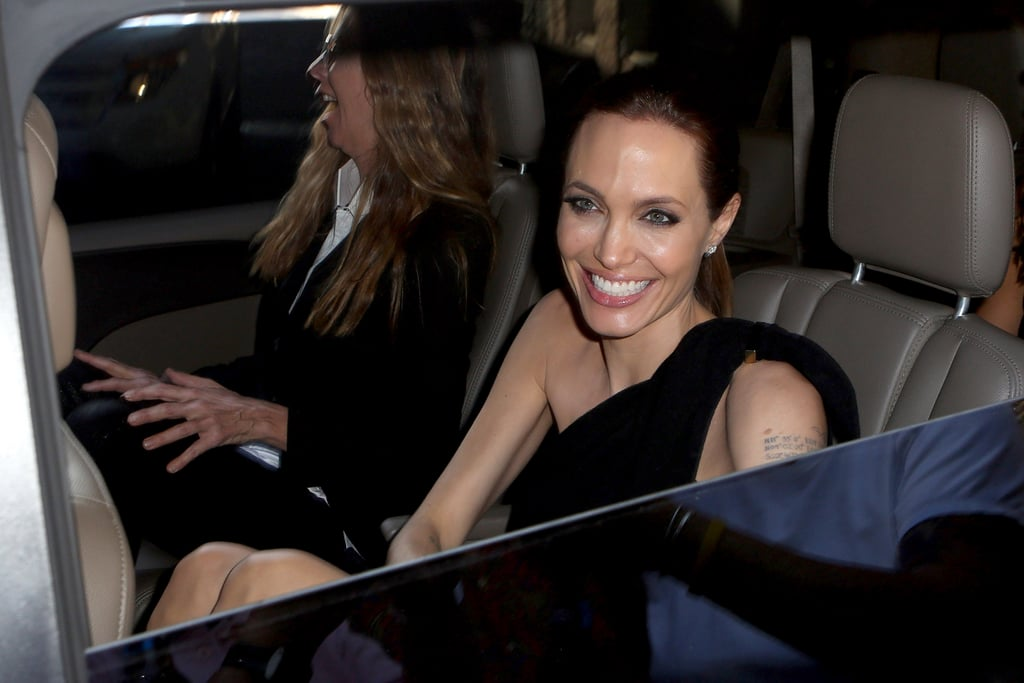 Angelina Jolie Smiles From Ear to Ear Before Supporting Brad Pitt