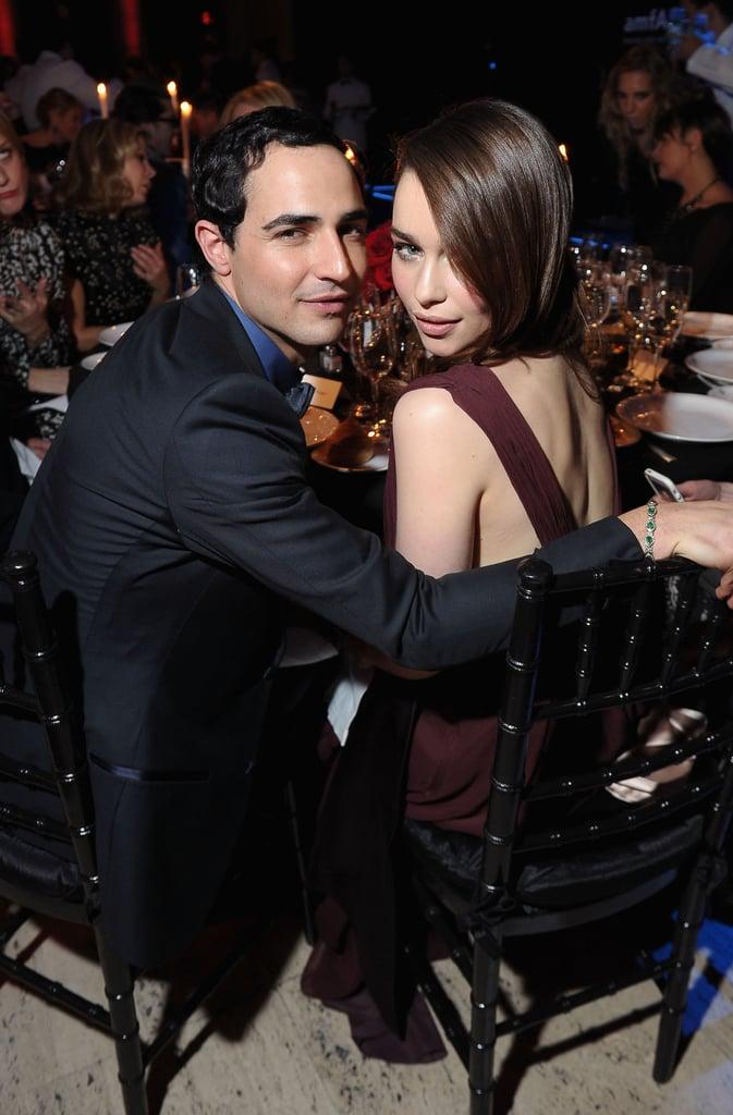 Emilia Clarke got cozy with Zac Posen inside the amfAR Gala in NYC in February.