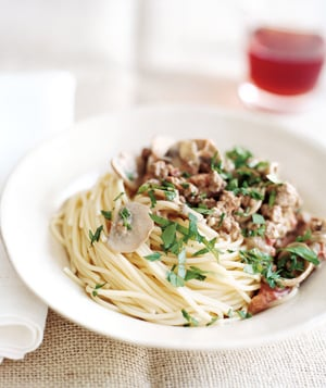 Fast & Easy Real Simple Recipe For Spaghetti With Beef Mushroom Sauce