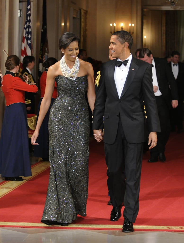 The presidential couple sparkled — largely in part to Michelle's one-of-a-kind Peter Soronen creation.