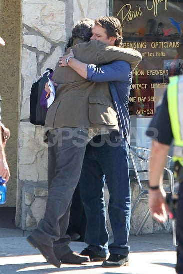 Pictures of Matt Damon Hugging Thomas Haden Church on Set
