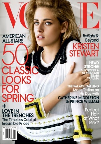 Kristen Stewart smouldered on the February 2011 cover of Vogue.
