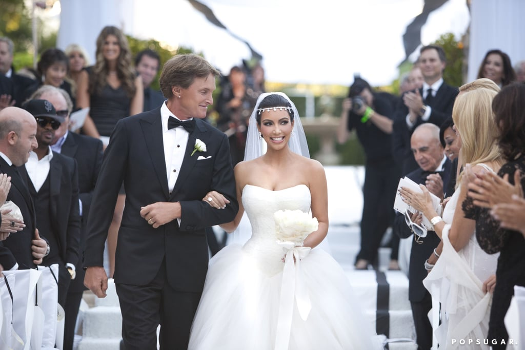 Bruce Jenner walked Kim down the aisle.