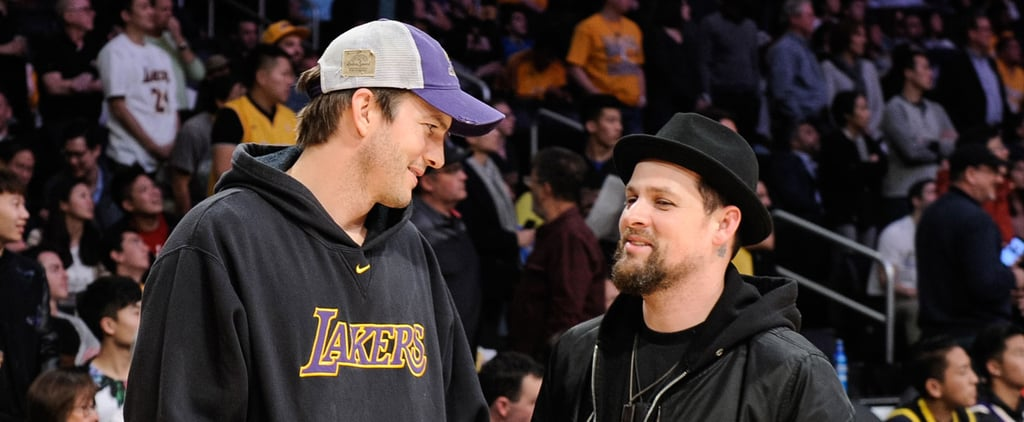 Ashton Kutcher and Joel Madden Leave Their Gals at Home For a Guys' Night Out at the Lakers Game