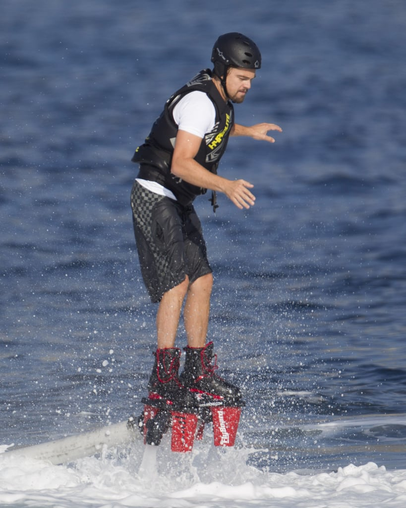 Leonardo DiCaprio went Flyboarding during his vacation in Spain.