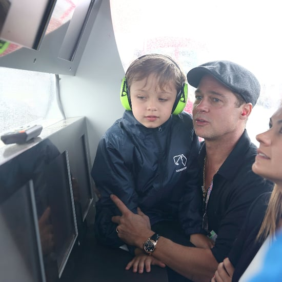 Brad Pitt and Knox at British Grand Prix 2015 Pictures