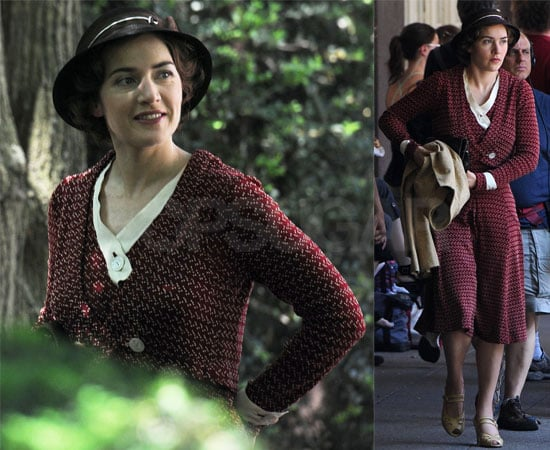 Pictures of Kate Winslet Smiling as She Films Mildred Pierce in Queens, New York