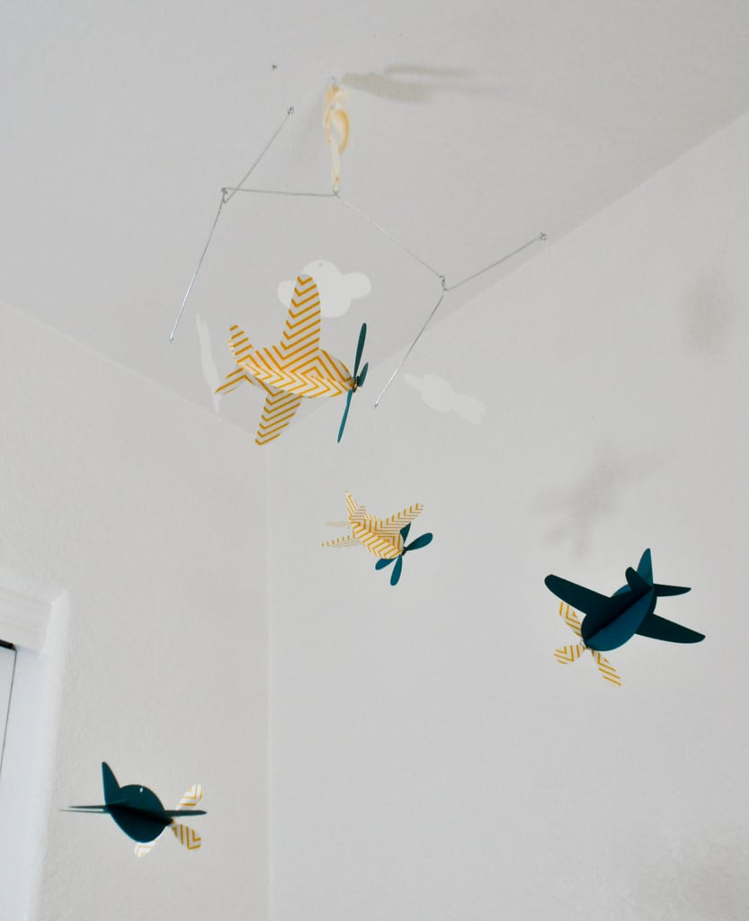 Yellow Chevron and Teal Airplanes