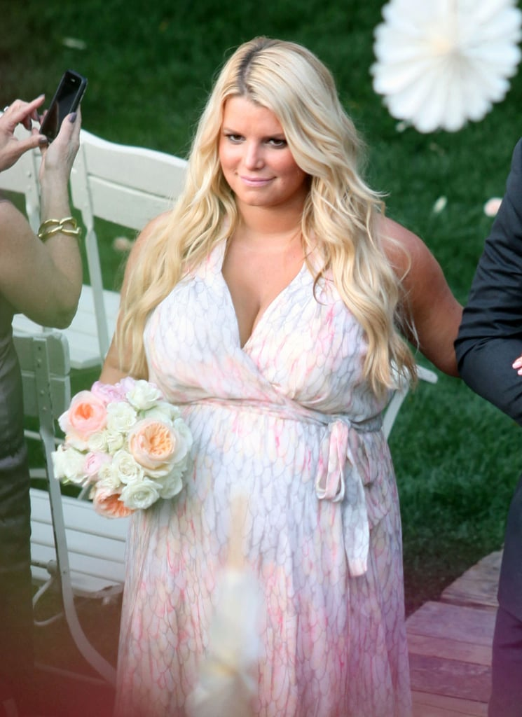 A pregnant Jessica Simpson donned a bridesmaid dress for her friend's March 2012 wedding in Palm Springs.