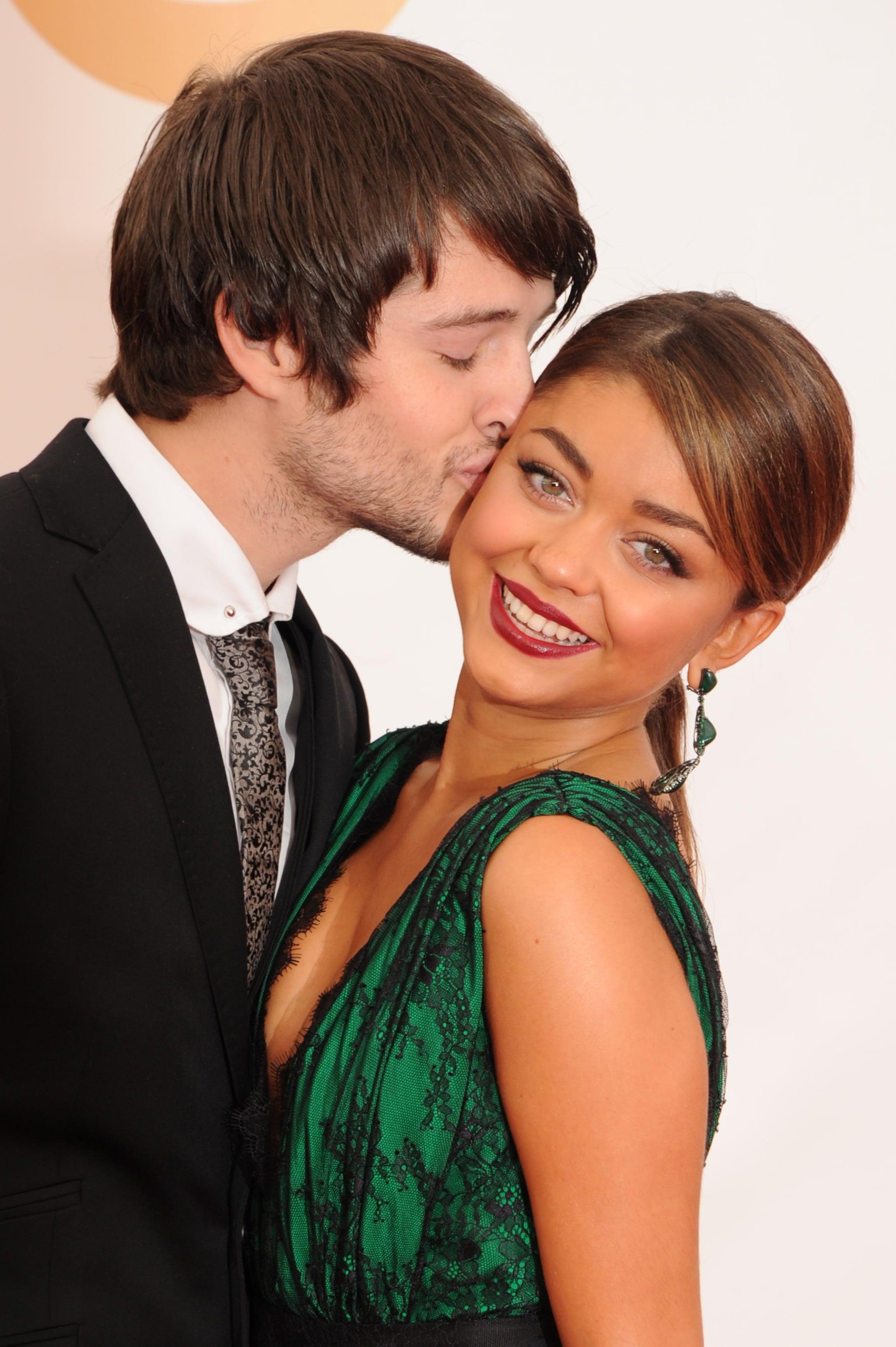 Sarah Hyland received a sweet kiss on the cheek from boyfriend Matt Prokop at the Emmy Awards.