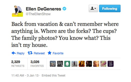 May as well make yourself comfy, Ellen!